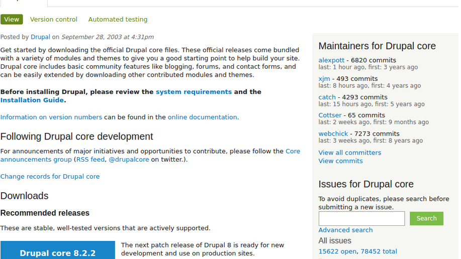 Drupal core Download Seite
