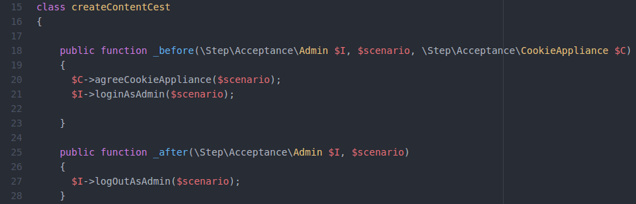 "Beispiel einer ""_before"" und ""_after"" Hook in einem Codeception acceptance Test"